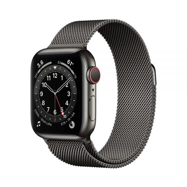 اپل واچ سری 6 استیل سلولار گرافیت با بند میلانس لوپ: 40 میلیمتر
